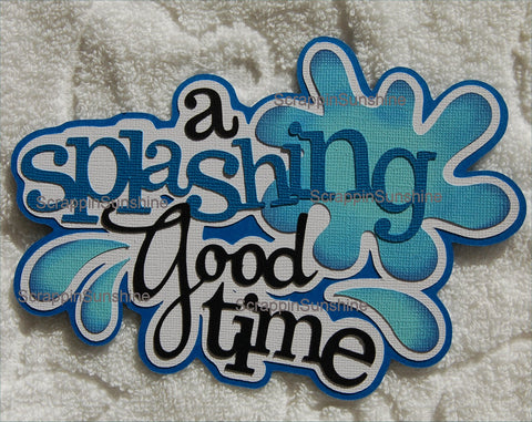 A Splashing Good Time Die Cut Title - Pool Beach Summer Vacation for Scrapbook Page