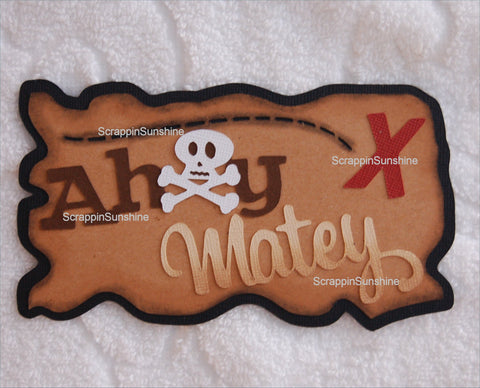 Ahoy Matey Pirate Cruise - Die Cut Title for Scrapbook Page