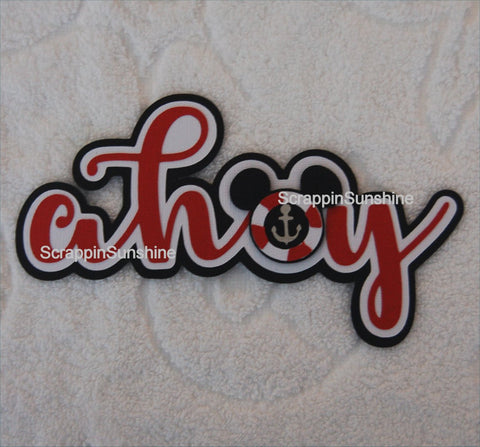 Disney Cruise Ahoy Die Cut Title for Scrapbook Page
