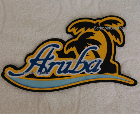 Aruba Disney Cruise Travel Die Cut Title Scrapbook Page Paper Piece