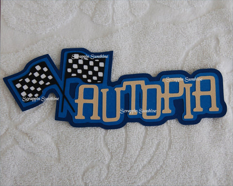 Disneyland Autopia Die Cut Title for Scrapbook Pages