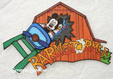 DISNEY Barnstormer Ride w/ Mickey & Donald Printed Paper Piece