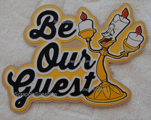 DISNEY Be Our Guest Dining Die Cut Title w/ Printed Lumiere Candlestick for Scrapbook Page