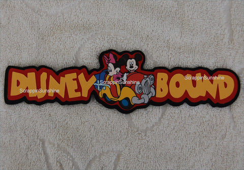DISNEY BOUND (Car) Die Cut Title Scrapbook Page Paper Piece