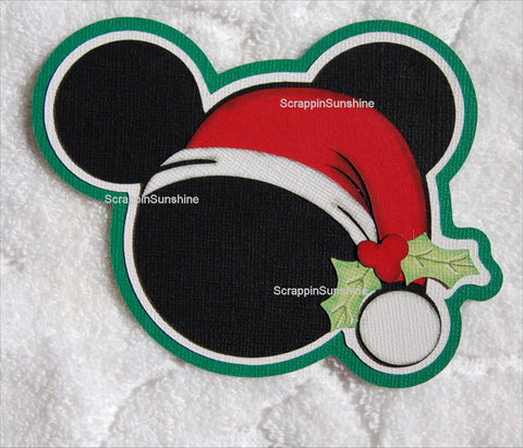 Christmas Santa Mickey Head Die Cut Scrapbook Paper Piece