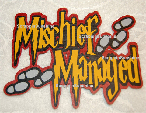 Harry Potter Mischief Managed Die Cut Title for Scrapbook Pages
