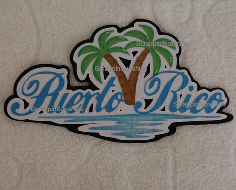 PUERTO RICO Disney Cruise Travel Die Cut Title Scrapbook Page Paper Piece
