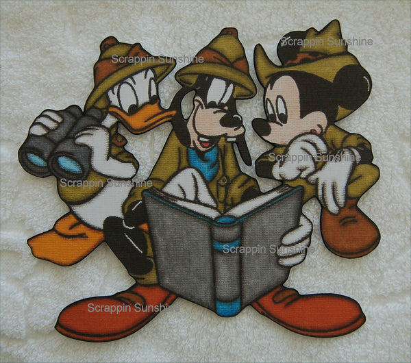 Disney Jungle Safari Trio Mickey Donald Goofy Printed Scrapbook Page Paper Piece