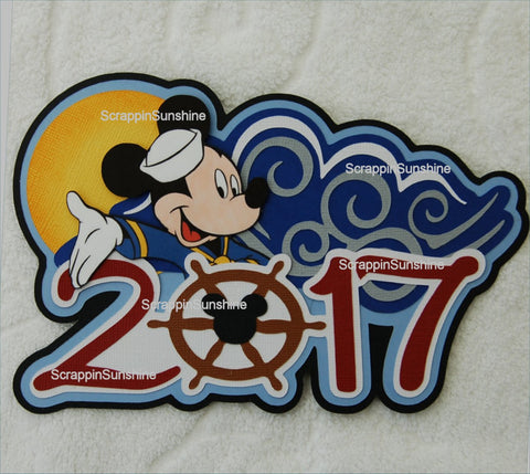 DISNEY 2017 Cruise Vacation Die Cut Title Scrapbook Page Paper Piece
