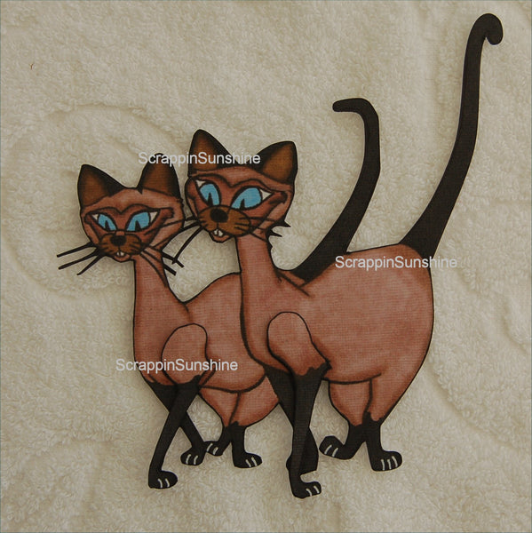 Si and Am 101 Dalmations - Siamese Cats - Printed Paper Piece for Scrapbook Pages