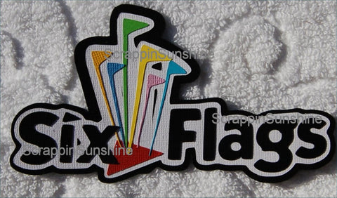 Six Flags Theme Park Travel Vacation Die Cut Title for Scrapbook Pages