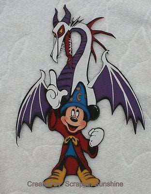 DISNEY FANTASMIC MICKEY w/ DRAGON - Premade Scrapbook Page Paper Piecing