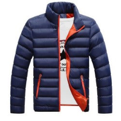 mens casual high quality  jacket solid color thick parka outwear coat