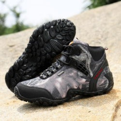 outdoor fun  sports mountain trekking shoes hunting leather boots  waterproof hiking shoes