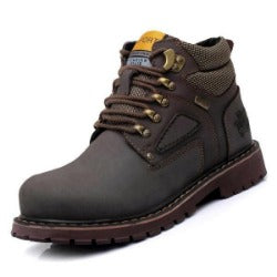 Working Shoes Lace-Up Men Fashion Boots Durable Rubber Sole Man Nubuck Leather