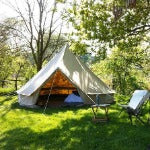 Diameter 4m Waterproof Bell Tent 4 season big tent Outdoor Sibley Glamping Tent with Chimney Hole