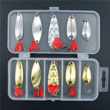 allblue mixed colors fishing lures spoon bait metal lure kit iscas artificias hard bait