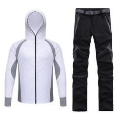 men spring summer fishing hiking trekking  quick dry pant hoodie set