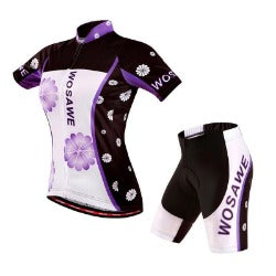 WOSAWE Summer Women Cycling MTB Short Sleeves Jersey Bike Bicycle Sets Shirts Padded Cycling Short Wear Uniforms - Scool Sports Equipment Co.,Ltd. - Cycling Jerseys - Safaryworld.com