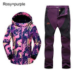 woman finter fleece warm trekking fishing waterproof jacket pants set