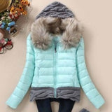 Women Winter Coat Cotton Padded Jacket Short Knitted Hood Fur Collars - Safaryworld.com - 9