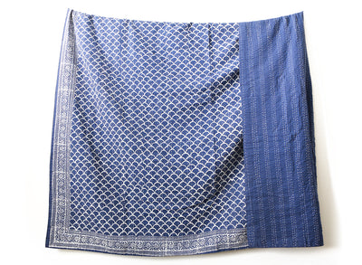 Vintage Indigo Kantha Quilt Throw - King Size No KA004