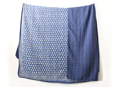 Vintage Indigo Kantha Quilt Throw - King Size No KA007 - ShopGoldenPineapple