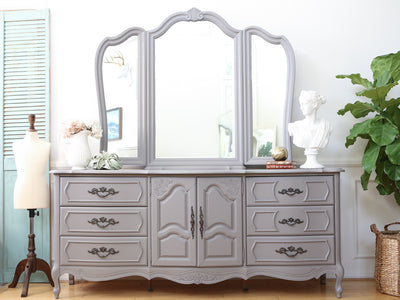 Shabby Chic Vintage French provincial Dresser / Credenza with Mirror 9 drawers No59 - ShopGoldenPineapple