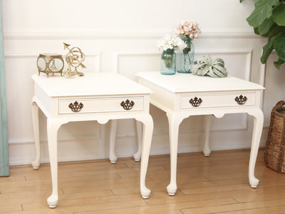 Shabby Chic French Provincial Vintage Night Stands / Side Tables / End Tables Set of Two 60 - ShopGoldenPineapple