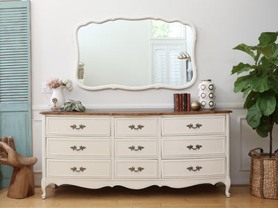 Shabby Chic French Provincial Vintage Dresser / Buffet Cabinet / Credenza with Mirror No88 - ShopGoldenPineapple