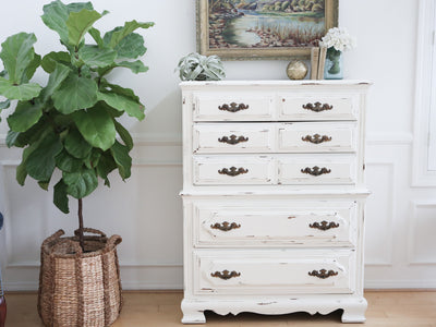 Shabby Chic Vintage White HighBoy Tall Dresser No86 - ShopGoldenPineapple