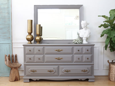Vintage Shabby Chic Dresser / Credenza with Mirror in Gray No64 - ShopGoldenPineapple
