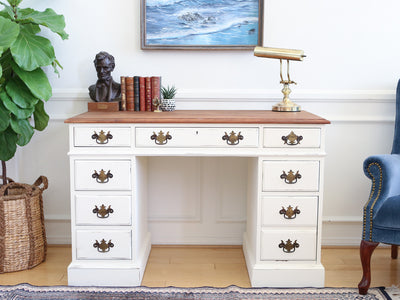 Vintage Shabby Chic Solid Cherry Wood Writing Desk White 113 - ShopGoldenPineapple