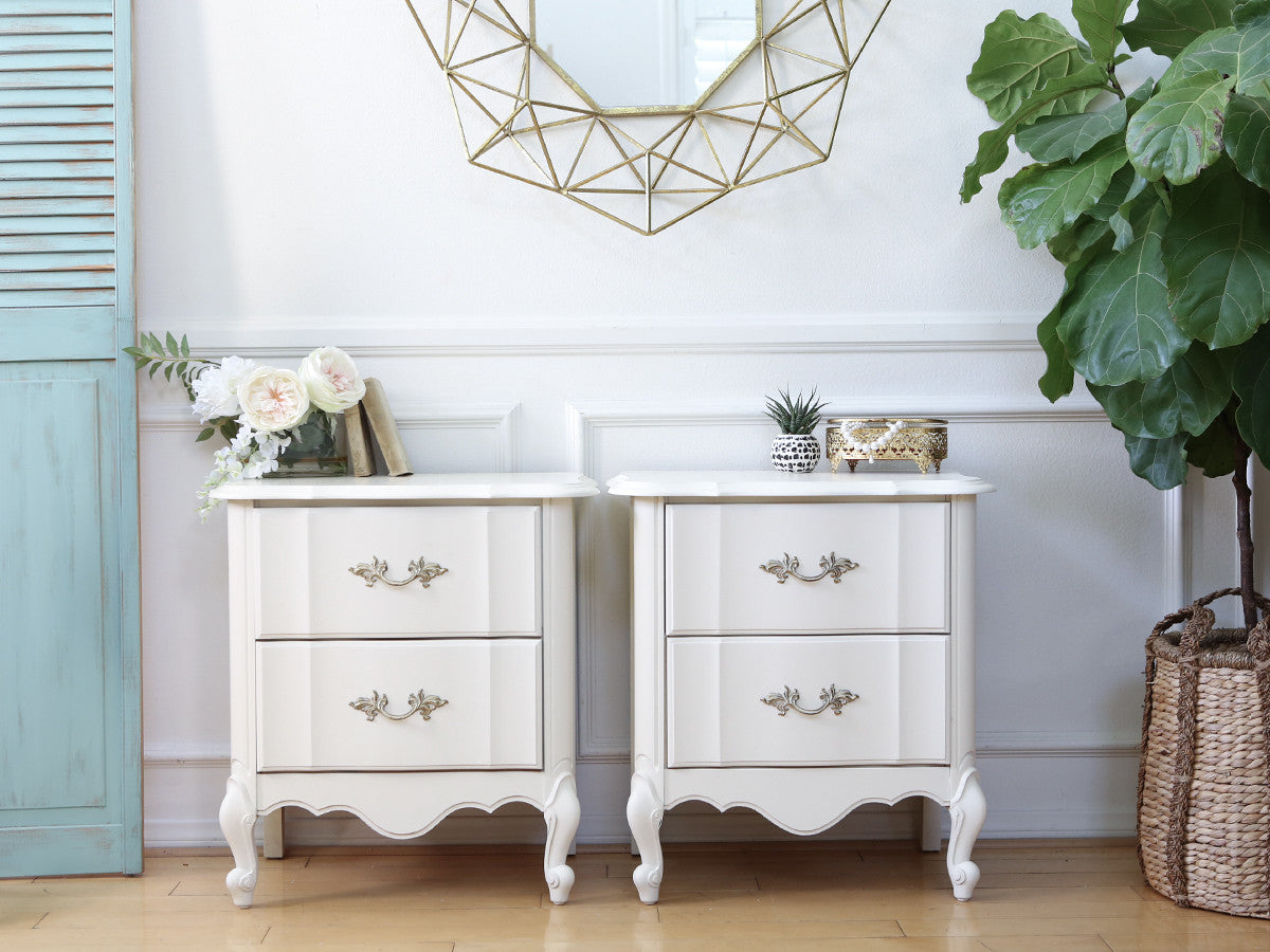 Attractive Vintage Nightstands Part - 3: Shabby Chic French Provincial Vintage NightStands Set Of Two 145 -  ShopGoldenPineapple