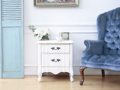 Shabby Chic Vintage White Single NightStand / Side Table / End Table 108 - ShopGoldenPineapple