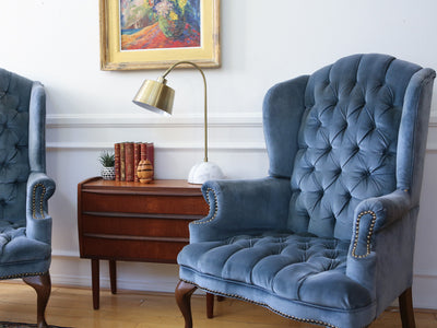 Hollywood Regency Vintage Tufted Velvet Wingback Arm Chair Navy Blue  Nailhead Traditional Brass Set Of Two