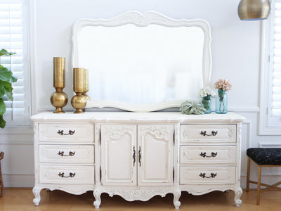Shabby Chic French Provincial Vintage Dresser / Buffet Cabinet / Credenza with Mirror No101 - ShopGoldenPineapple