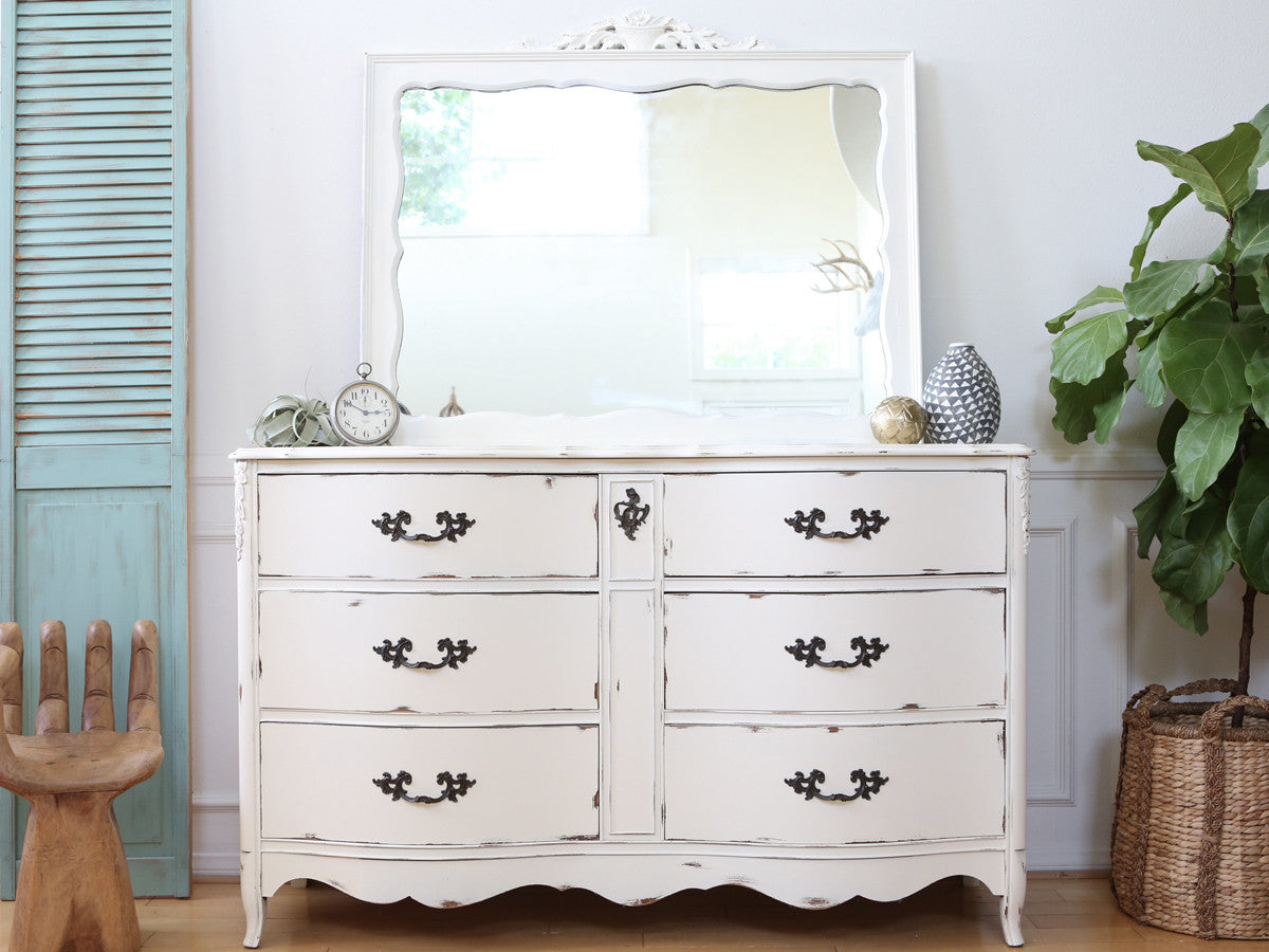 Vintage Shabby Chic Vintage Dresser Credenza 6 Drawers With Mirror