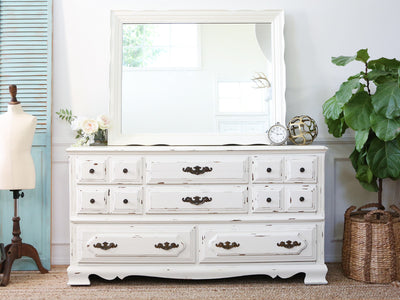 Vintage Shabby Chic Dresser / Credenza with Mirror in White 146 - ShopGoldenPineapple
