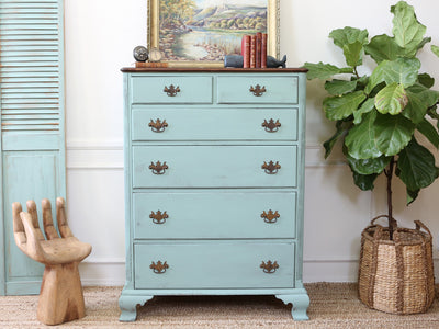 Vintage Shabby Chic Dresser / HighBoy / Tall Dresser with Wooden Top 152 - ShopGoldenPineapple