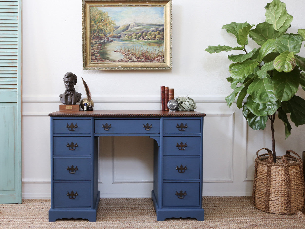 Swell Shabby Chic Vintage Bule Writing Desk Vanity Table With Download Free Architecture Designs Scobabritishbridgeorg