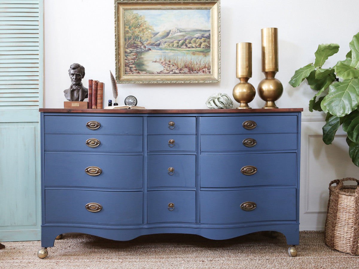 Bassett Vintage Shabby Chic Dresser with Wooden Top in Classic Blue with  Brass Wheel No155 - - Bassett Vintage Shabby Chic Dresser With Wooden Top In Classic Blue