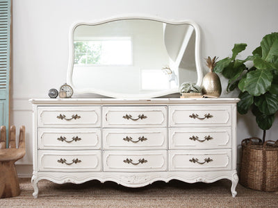 Thomasville Shabby Chic French Provincial Vintage Dresser / Buffet Cabinet / Credenza with Mirror 161 - ShopGoldenPineapple