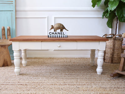 Shabby Chic Solid Wood Top Vintage Coffee Table with Drawer No163 - ShopGoldenPineapple