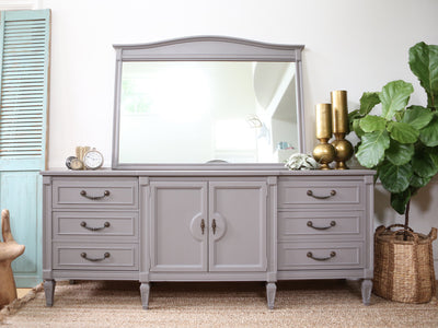 Vintage Shabby Chic Dresser with Mirror in Gray No164 - ShopGoldenPineapple
