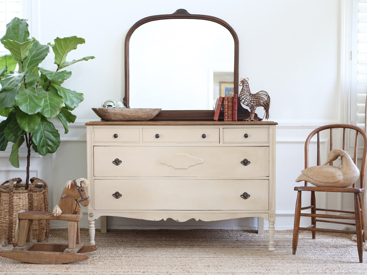 Shabby Chic Antique Dresser / Vanity Dresser with Mirror No174 -  ShopGoldenPineapple - Shabby Chic Antique Dresser / Vanity Dresser With Mirror No174