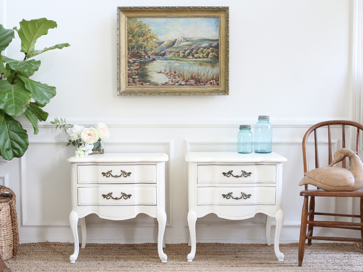 Vintage Nightstands Part - 18: Name Brand Drew : Shabby Chic French Provincial Vintage NightStands Set Of  Two 175 - ShopGoldenPineapple