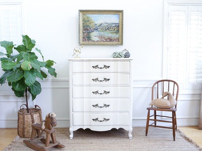 Brand name : Drew Shabby Chic French Provincial Vintage HighBoy / Tall Dresser No189 - ShopGoldenPineapple
