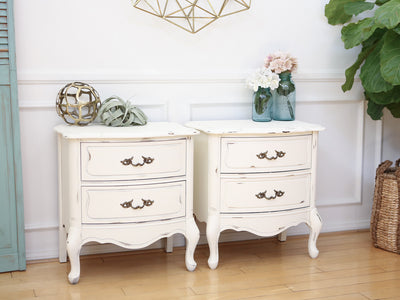 Shabby Chic French Provincial Vintage Night Stands / Side Tables / End Tables Set of Two No124 - ShopGoldenPineapple