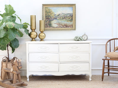 Vintage Shabby Chic French Dresser / Credenza with 6 drawers No193 - ShopGoldenPineapple